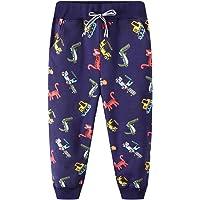 FILOWA Pantalones Deportivos Niños Chándal Joggers Negro Elástico Cintura Pantalones Largos Algodón Dinosaurio Impresión…