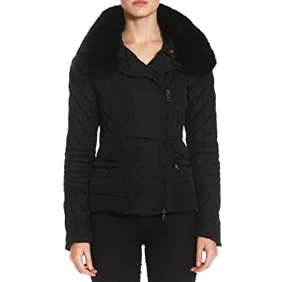 Members Only Womens Quilted Moto Biker Puffer Jacket with Fox Collar at Women's Coats Shop