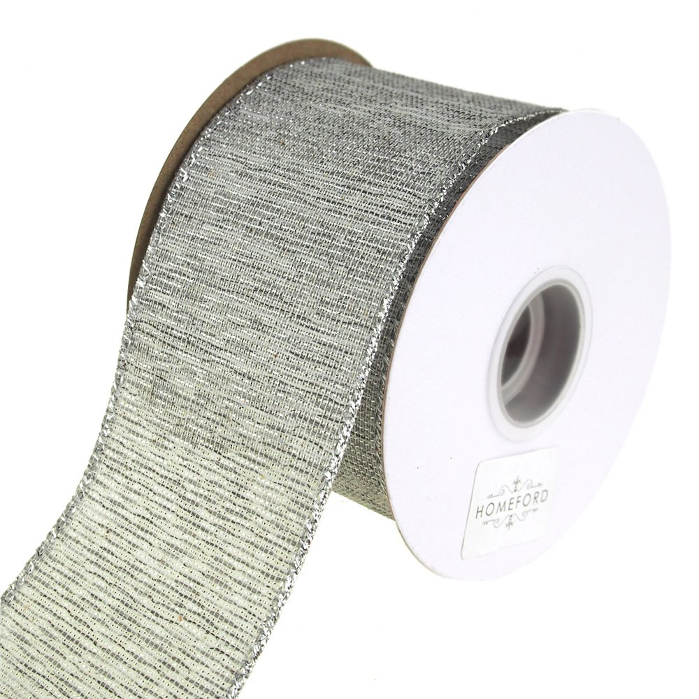 Homeford FRRY92696W76040F Ribbon, 2-1/2'', Silver