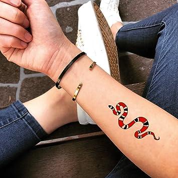Tatuaje Temporal de Serpiente de coral (2 Piezas) - www.ohmytat ...