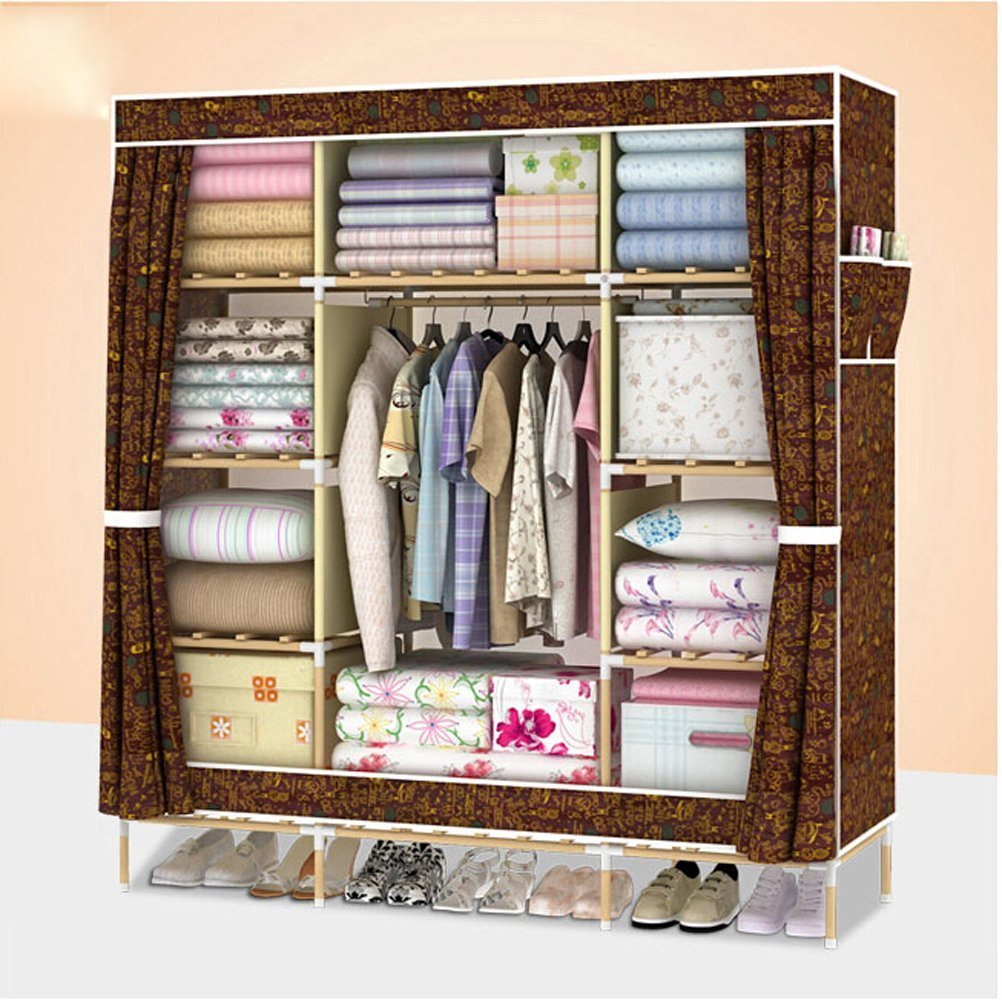 Generic New Triple Super Large Reinforced Clothes Wardrobe Wooden Waterproof Closet Cabinet + 1 Free Storage Box