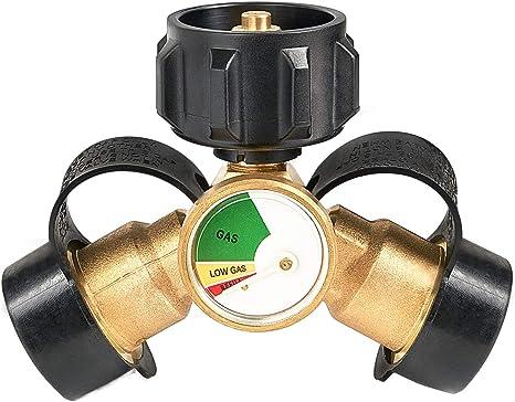 GASPRO Adaptador de T divisor de propano y con indicador de nivel de tanque de propano, detector de fugas, funciona con parrillas de barbacoa, estufas ...