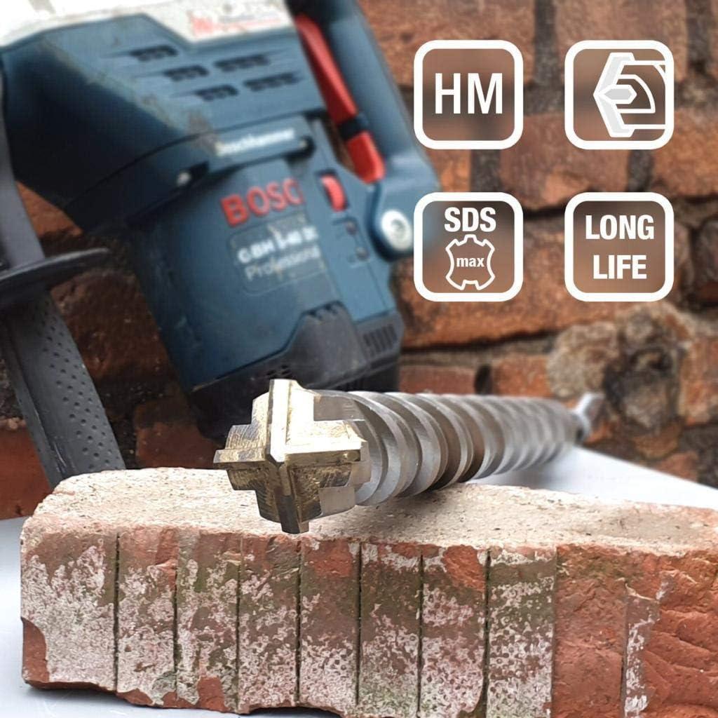 Kein Einhacken in Armierungseisen 40x800mm SDS Max Bohrer 40mm /Ø Ideal zum schnellen Bohren in Beton Lang 40x800 mm Hochwertige Hartmetall Spitze
