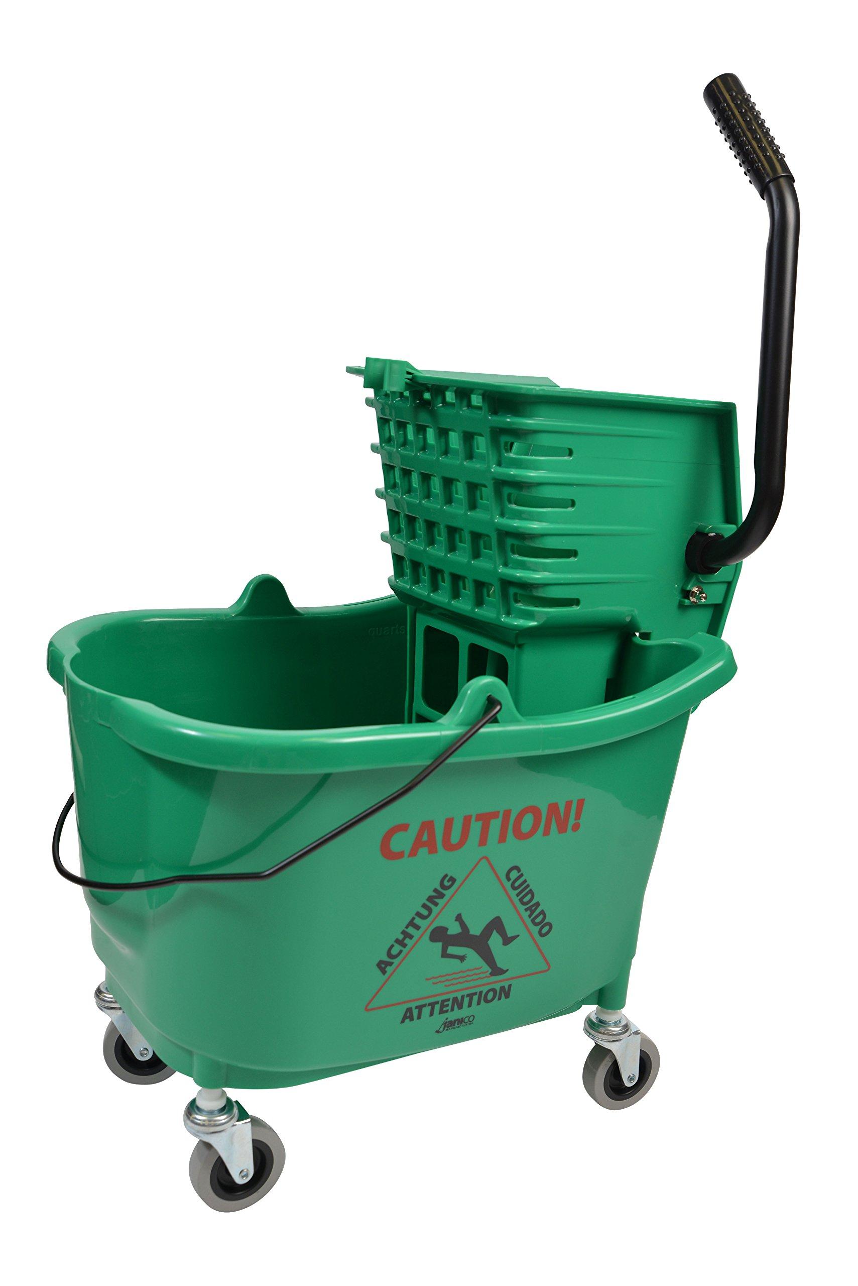 Janico Inc Mop Bucket Side Press Wringer Combo, 35 Quart 8.5 Gallon, Green, 3 Inch Non Marking Metal Casters (35 Quart, Green)