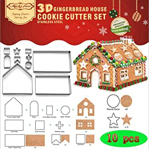 (Set of 10) Gingerbread House Cookie Cutter Set, Bake Your Own Small Christmas House Kit, Chocolate House, Haunted House, Gift Box Packaging