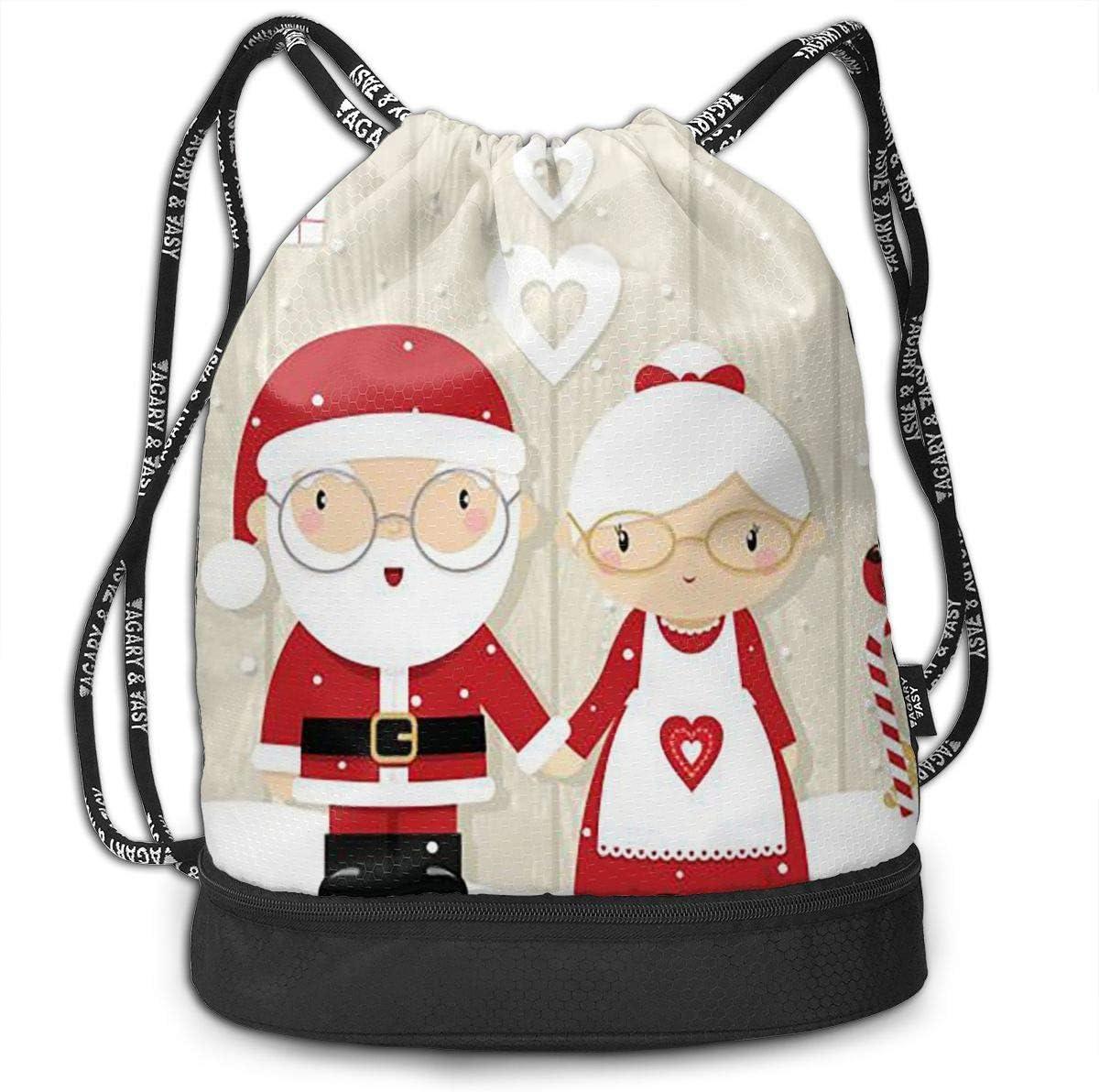 Drawstring Backpack Santa Claus Bags Knapsack For Hiking