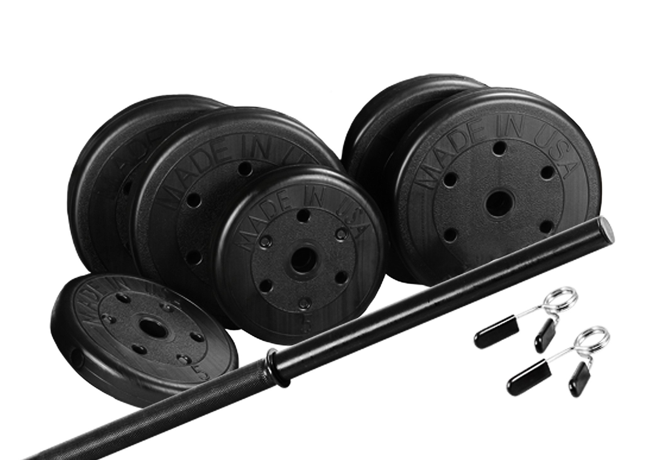 US Weight Duracast 55 lb. Barbell Weight Set with Two 5 lb. Weights, Four 10 lb. Weights, One 4 lb. Two-Piece Threaded Barbell Bar, Two Locking Spring Clips by US Weight
