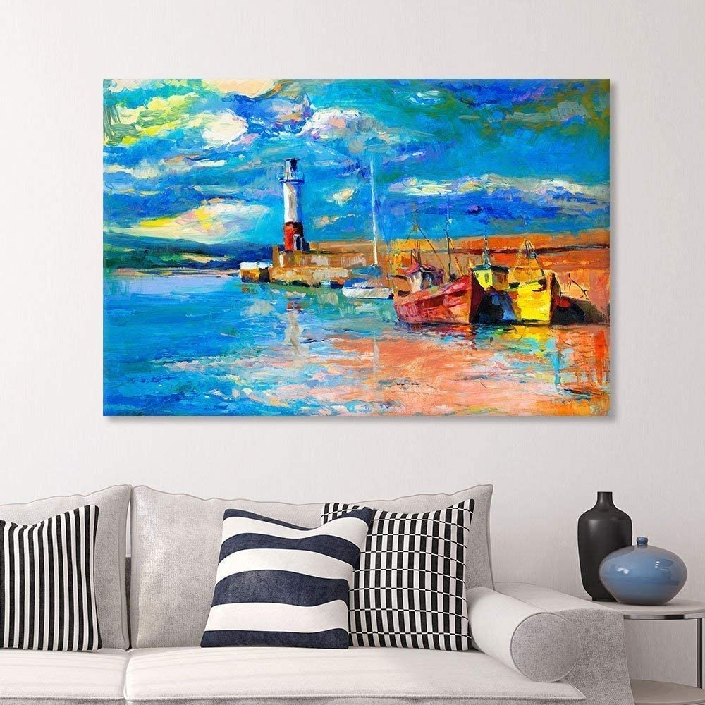Canvas Prints Wall Art - Original Oil Painting Lighthouse Boats on Canvas.Rich Golden Sunset Over Ocean - 32