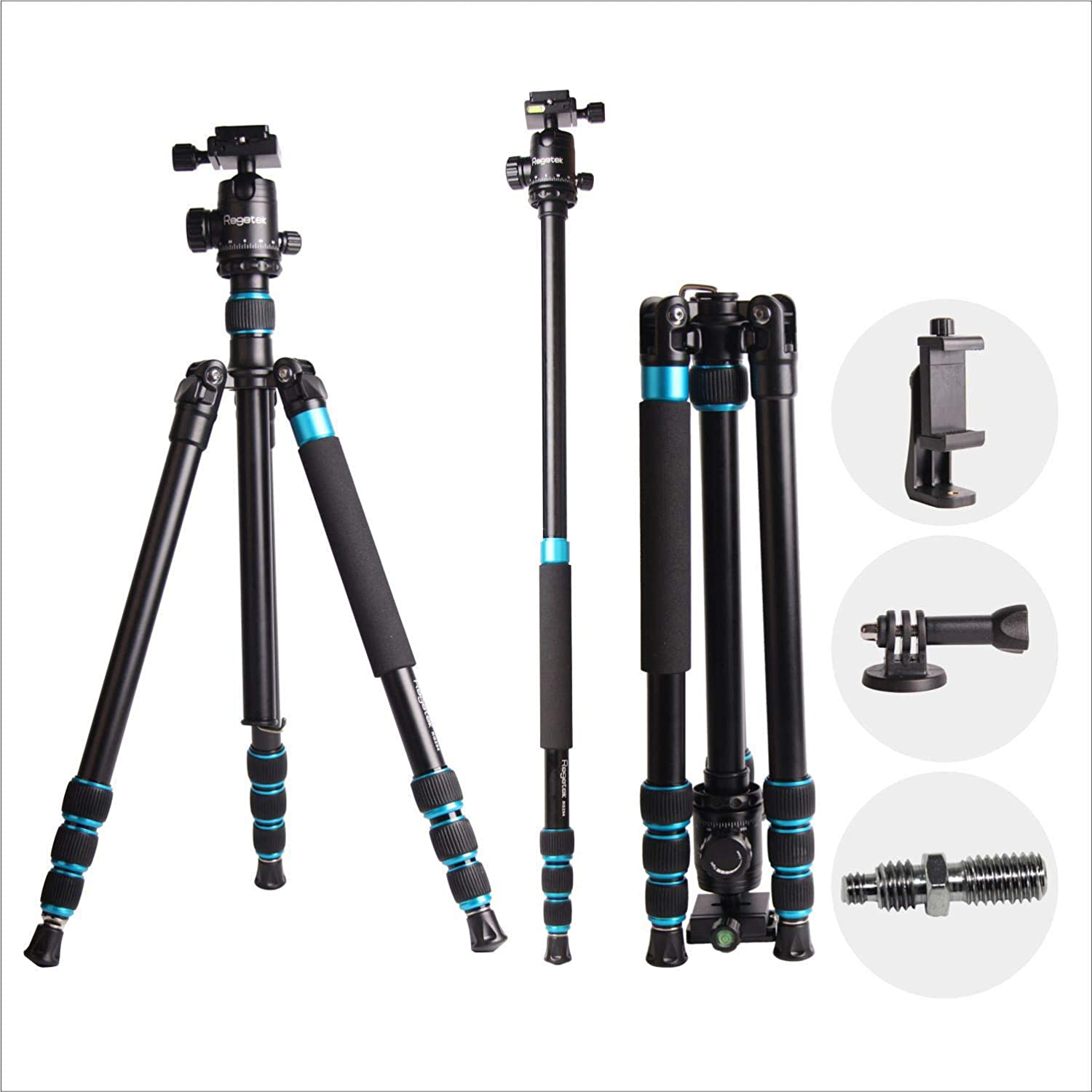 Regetek 63' Professional DSLR Camera Tripod Monopod with 360 Panorama Ball Head for Canon Nikon Sony Olympus DV Gopro with Carry Bag/Phone Adaptor/Gopro Mount