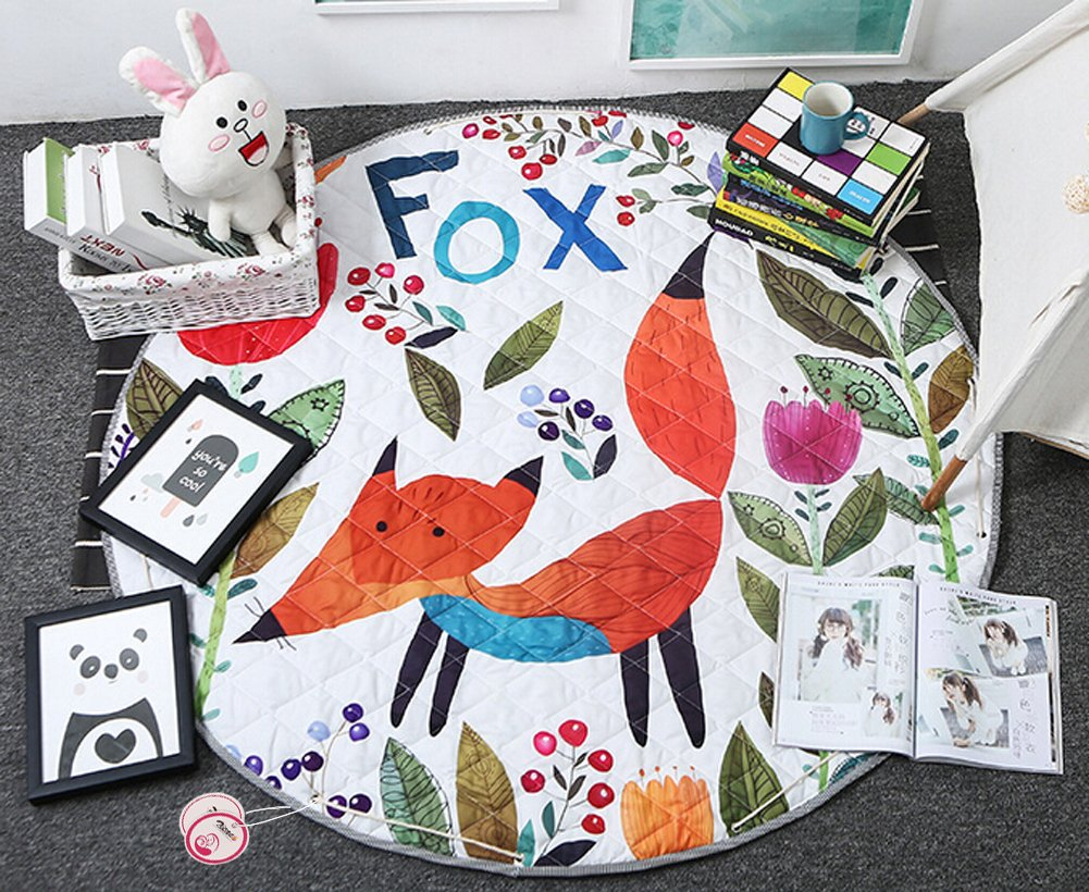 Round Kids' Room Rug, Zicac Toys Storage Organizer Bag Large Cotton Anti-Slip Cartoon Animal Children's Floor Play Game Mat with Drawstring for Kids Room, 51x51 Inch (Fox)