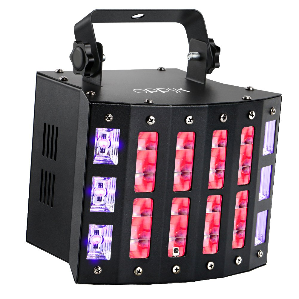 DJ Lights, OPPSK 48W 3in1 Multifunction 9 Colors LED Beam Stage Lights 6LEDs Black Lights and Strobe Lights for Birthday Wedding Club Party Stage Lights
