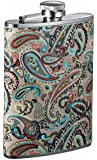Visol Serenora Paisley Patterned Flask for Women, 8-Ounce, Silver