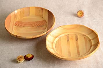 Handmade Wooden Plate Design Plate Set 2 Pieces Wood Craft Kitchen Supplies & Amazon.com | Handmade Wooden Plate Design Plate Set 2 Pieces Wood ...