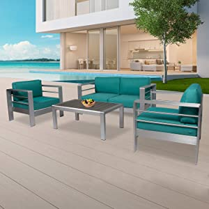 Kinsunny 4pcs Outdoor Patio Furniture Set Shore Aluminum Sectional Sofa Metal Conversation Set with Coffee Table