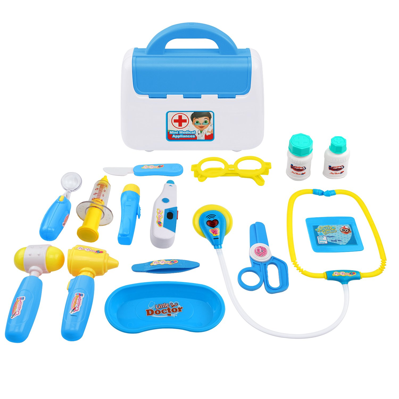 Samoleus 15St Doktor Spielset medizinische Kits Rollenspiel Spielzeug für Kinder (Blau)