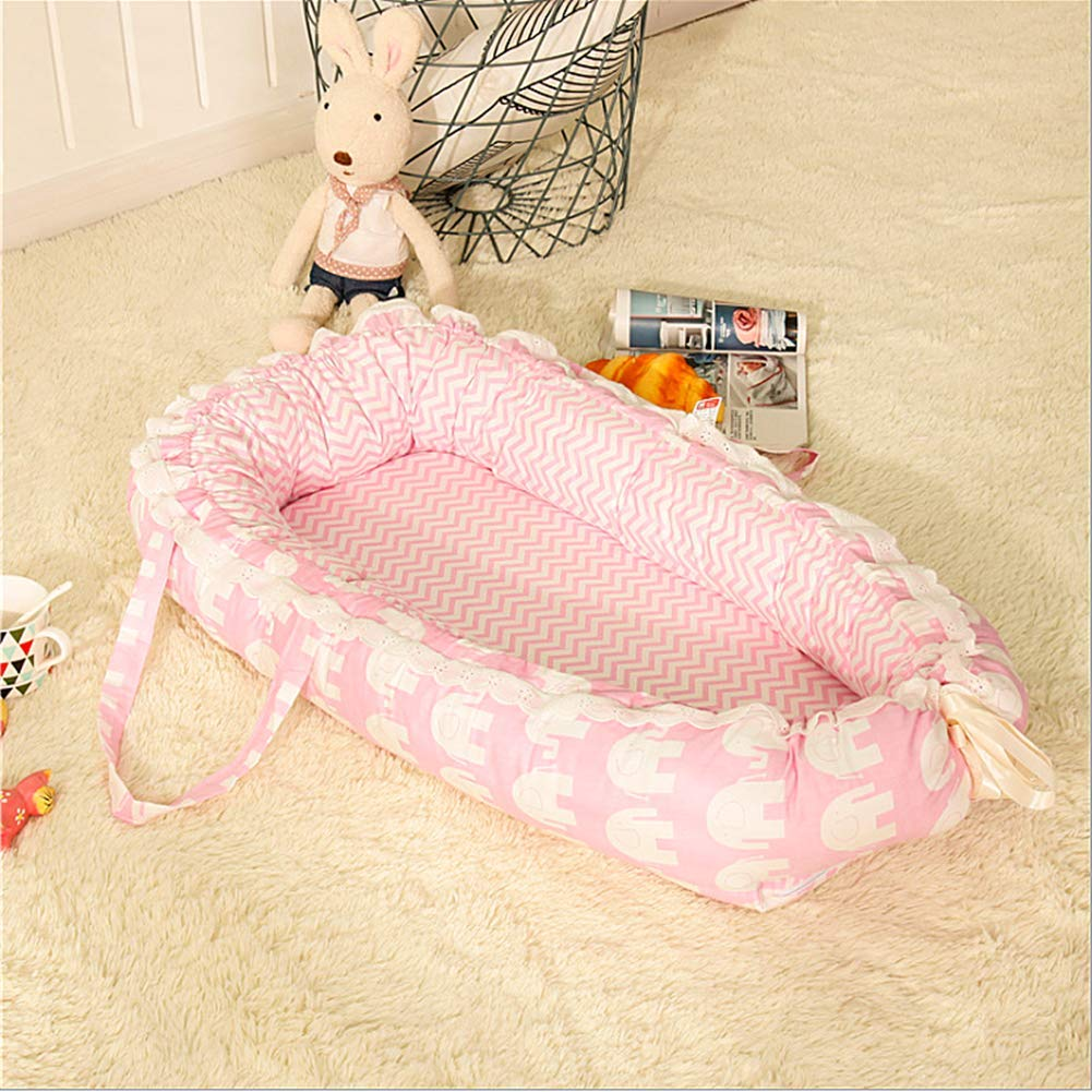 100/% Cotton Portable Crib for Bedroom//Travel Elephant Design Baby Lounger Breathable /& Hypoallergenic Co-Sleeping Baby Bed Cradles Lounger Cushion Ukeler Baby Bassinet for Bed