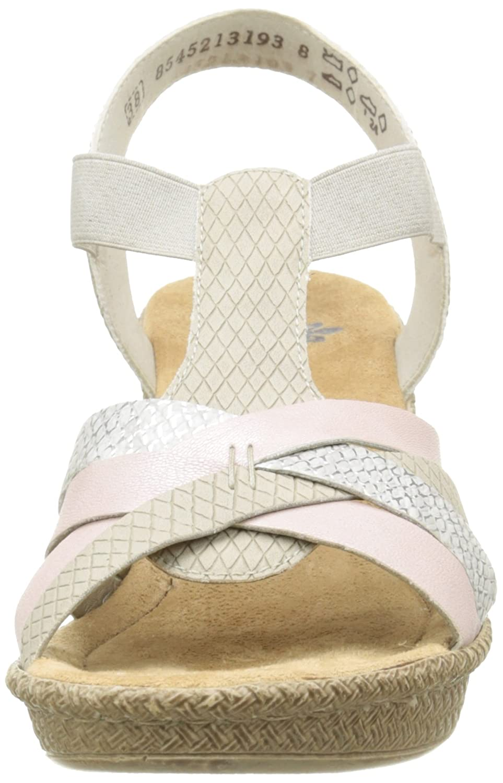 Rieker 66599 Women Open Toe Damen Offene Sandalen mit Blockabsatz