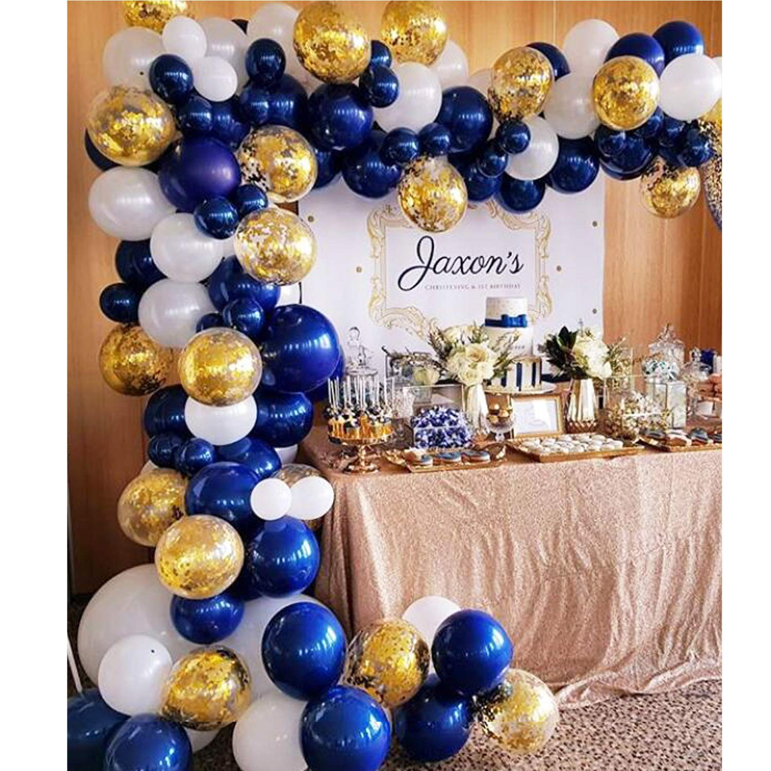 Topllon Navy Blue Balloons 104 Pcs 10 Inch Confetti Balloons Matte White Latex Balloon Garland Kit with 1 PCS Balloon Strip for 1st Birthday Party Baby Shower Wedding Party - 3 Colors