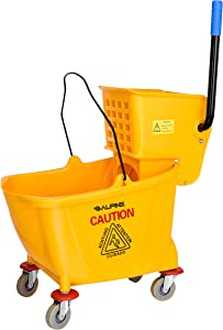 Alpine Industries Mop Bucket & Side Wringer Combo - Heavy Duty & Commercial Janitorial Cart w/Spring Wringer on Wheels for Home & Industrial Cleaning - Commercial Mop Bucket for Business, Yellow