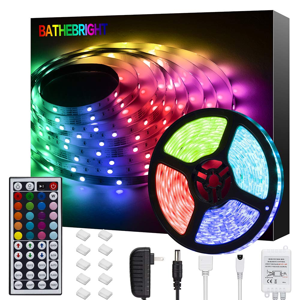 Bathebright LED Strip Lights 16.4ft 5m LED Light Strips with Remote Color Changing 5050 Flexible RGB LED Lights for…