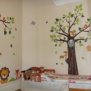 Kids Jungle Animals Tree Forest Owl Nursery Wall Stickers Amazon - Nursery wall decals uk