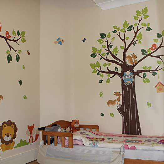 Amazing Kids Jungle Animals Tree Forest Owl Nursery Wall Stickers Part 11
