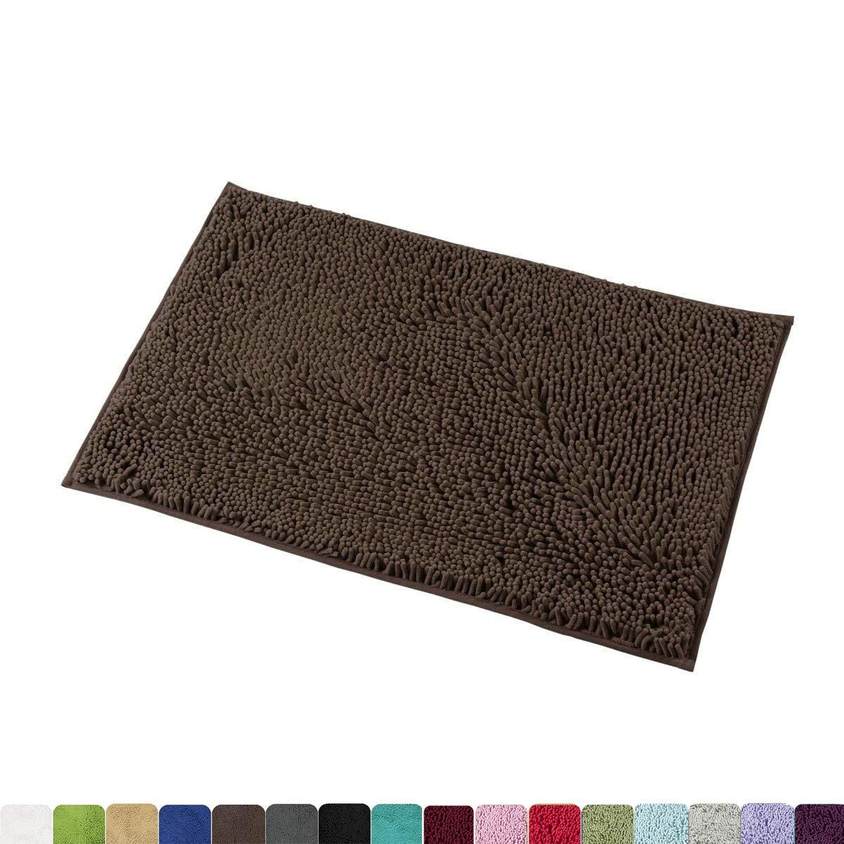 MAYSHINE 20x32 inch Non-Slip Bathroom Rug Shag Shower Mat Machine-Washable Bath mats Water Absorbent Soft Microfibers Brown