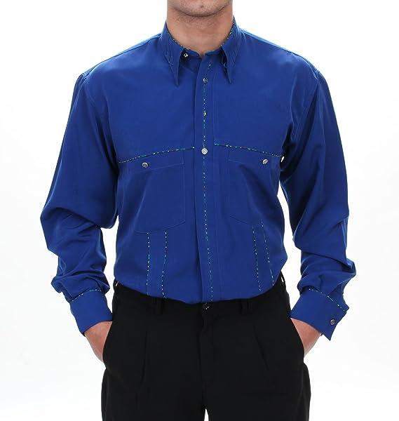 H.K.Mandel Fijo liches Camisa En Royal Azul, para hombre mejor calidad, HK almendra