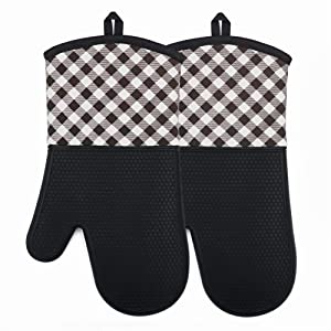 YUTAT Silicone Oven Mitts Heat Resistant 450 F Plaid Pattern Cooking Gloves Non-Slip Waterproof Potholders 1 Pair (Black)