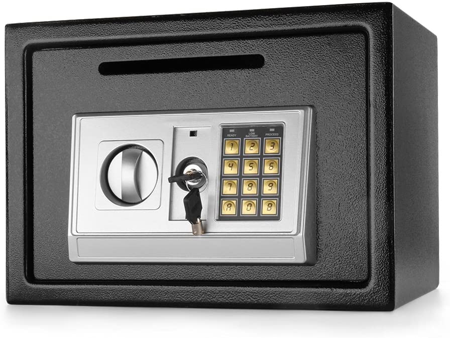 """Flexzion Electronic Depository Safe Box with Drop Slot Posting Opening - Digital Keypad Combination Lock Security Cabinet for Home Office Money Documents Gun Cash Deposit Hotel (13.8""""x10""""x10"""")"""