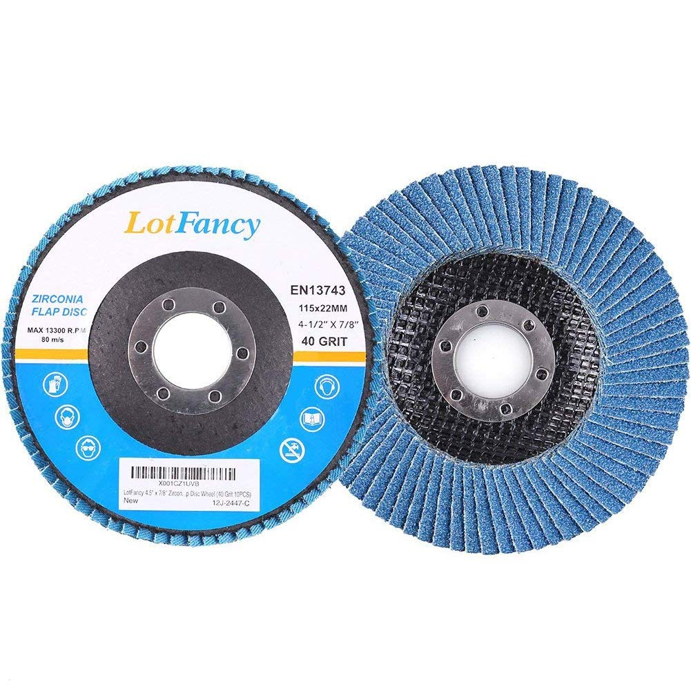 40 Grit 4.5 Inch Sanding Flap Discs by LotFancy - Zirconia Alumina Abrasive Grinding Wheel, Pack of 10