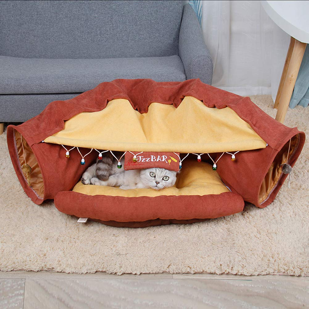 TIANPIN Cat Tunnel, Collapsible Tunnel Bed for Cat and Puppy Provide for Your Pet, Cat Toy Removable and Washable,Red-Wine by TIANPIN