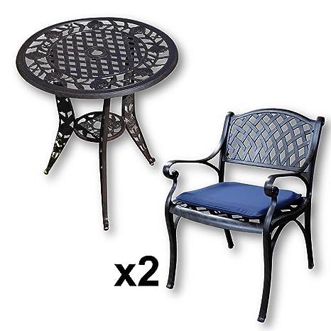 Amazon Sedie Da Giardino In Alluminio.Lazy Susan Tavolo Bistro Rose E 2 Sedie Da Giardino Set Da Giardino In Alluminio Pressofuso Colore Bronzo Antico Sedie Kate Cuscini Blu