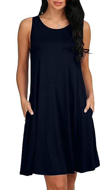 aadf8119621 Alaroo Women s Summer Sleeveless Pocket Tank Sundress for Beach Navy Blue S