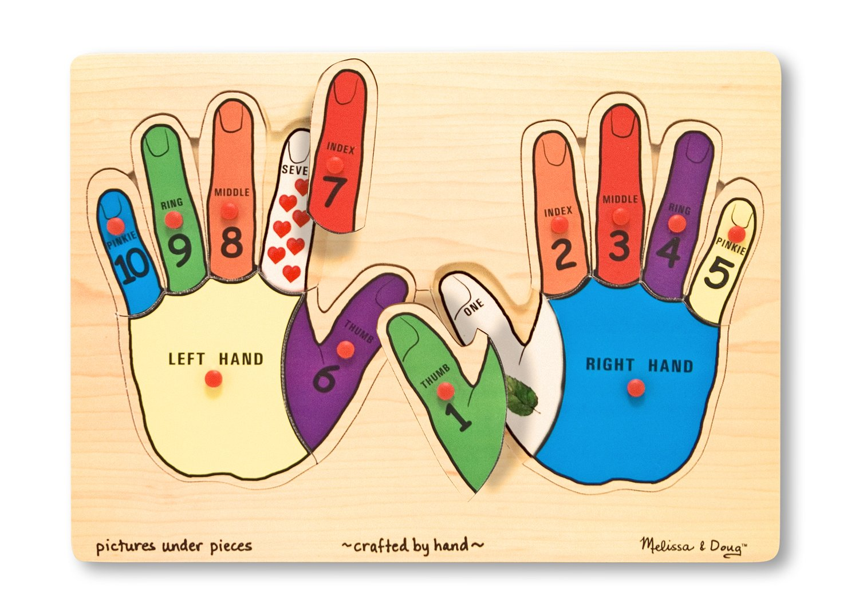 Melissa & Doug Hands Counting Wooden Peg Puzzle (12 pcs)