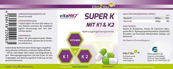 Vita2You Súper K con un avanzado complejo de la vitamina K2 K1 y K2 - 180 Cápsulas: Amazon.es: Salud y cuidado personal