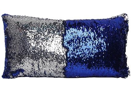 COMVIP Housse de Coussin avec Paillette Décoration 30cm x 60cm Taie doreiller Bleu Argenté Cuisine & Maison