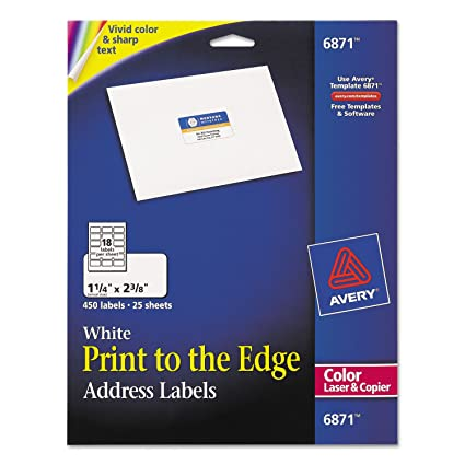 avery 6871 white laser labels for color printing 1 1 4 x 2 3 8