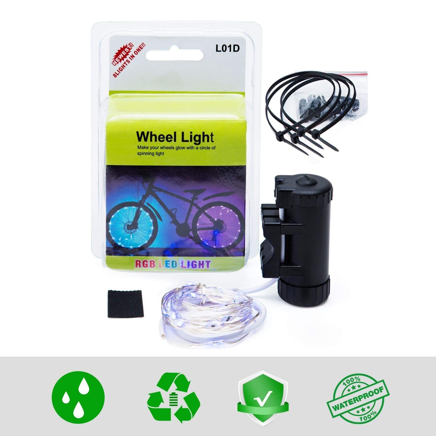 USB Rechargeable 1 Pack 7 Colors in 1 Bike Lights,Safety at Night,Switch 9 Modes LED Bike Accessories Lights Evaduol Bike Wheel Lights