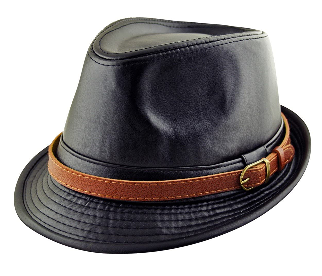 Mens Adult Trilby Fedora Hat & Band Faux Leather in Black or Brown (56, 57, 58, 59, 60 cm)