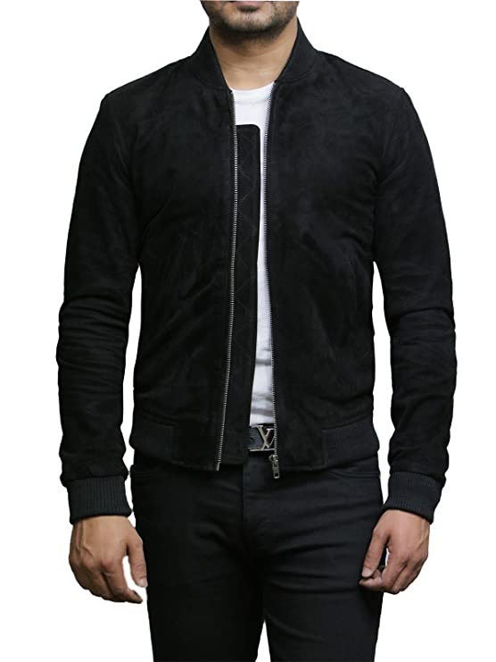 Brandslock Mens Genuine Leather Jacket Exclusive Varsity at Amazon Mens Clothing store: