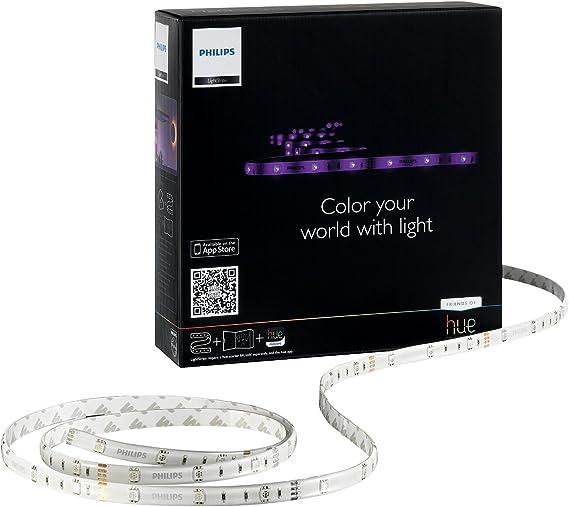 Philips Hue Lightstrip Basic Generación 1 - Kit de inicio con tira LED de 2 m y alimentador, controlable vía Smartphone y accesorios Hue, 120 lúmenes, 16 millones de colores, requiere puente Hue: Amazon.es: Iluminación