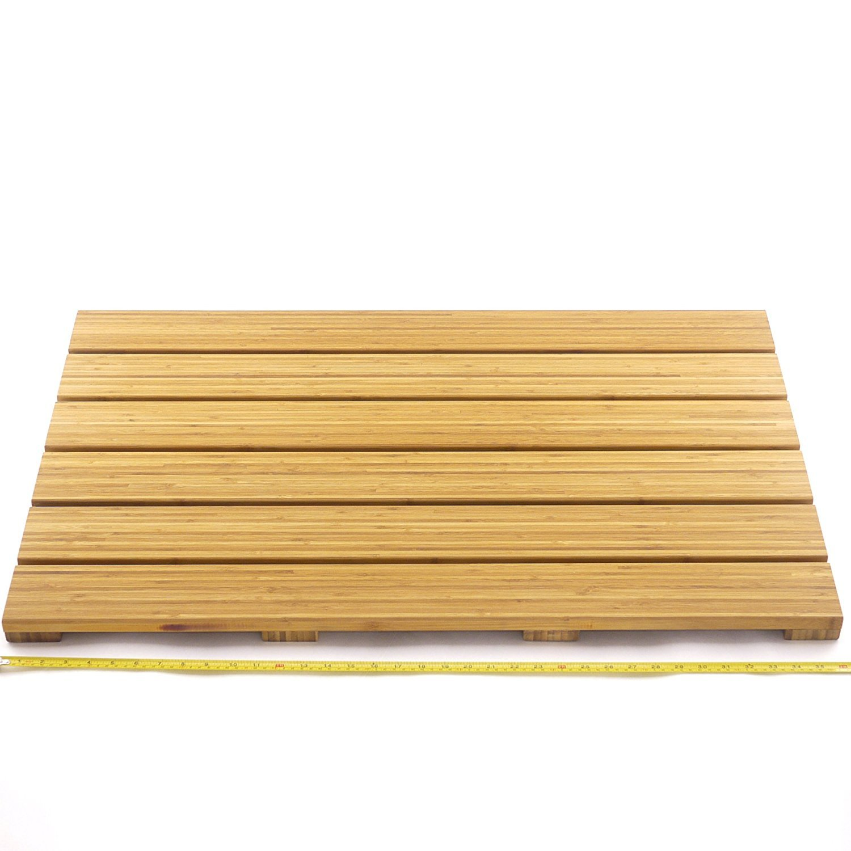 Bamboomn Brand Spa Style Raised Bamboo Bathmat Extra Large Rectangle
