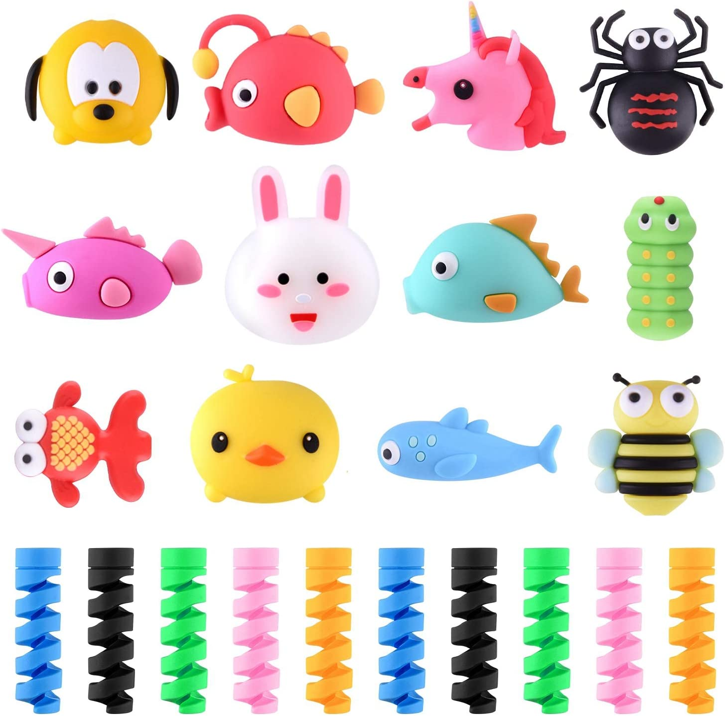 TUPARKA 22 Pcs Charger Cable Protector, Plastic Cute Fish Animal Unicorn Charging Cable Saver and Spring-Shaped Flexible Cable Protecters, USB Cable Saver Phone Accessory Protect Charger Cable