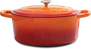 Crock Pot 109470.02 Artisan Enameled Cast Iron 7-Quart Oval Dutch Oven, Sunset Orange