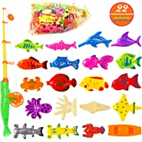 OOTSR Magnetic Fishing Toys Game Set for Kids Pool Party with Pole Rod (22 Pack) - Floating Fish for Toddler Education Teaching and Learning Ocean Sea Animals with Satin Gift Bag
