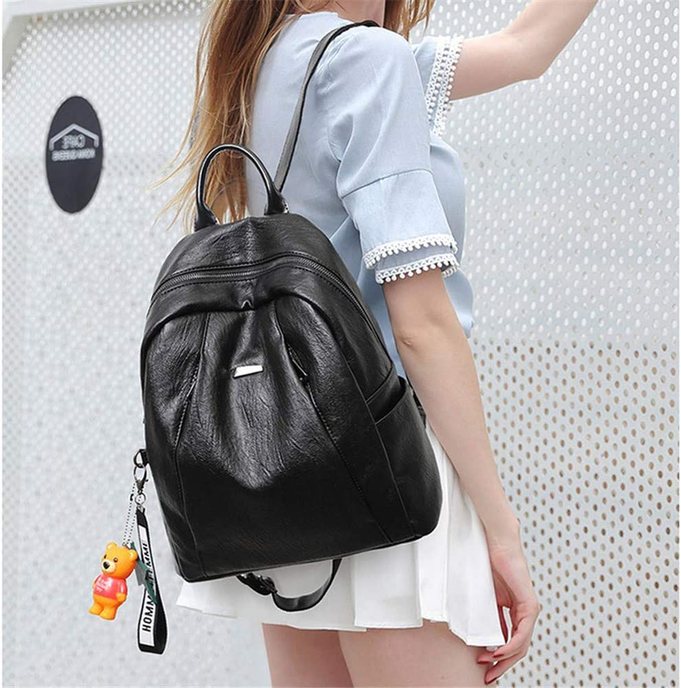 Women Backpack Purse Girl Backpack Womens Leather Fashion Shoulder Bag Zipper Bags Casual Backpacks Shoulder Bags Ladies Rucksack Shoulder Bags Color : Black