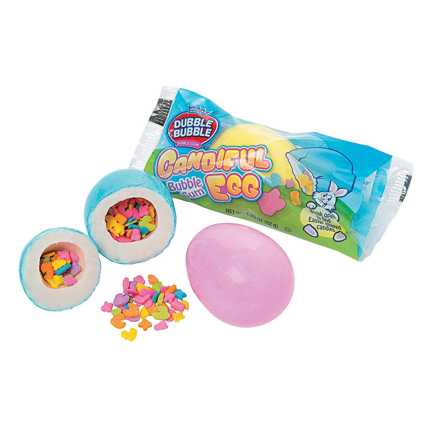 Fun Express - Double Bubble Giant Candiful Egg for Easter- Hard Candy - Dextrose - Easter - 12 Pieces