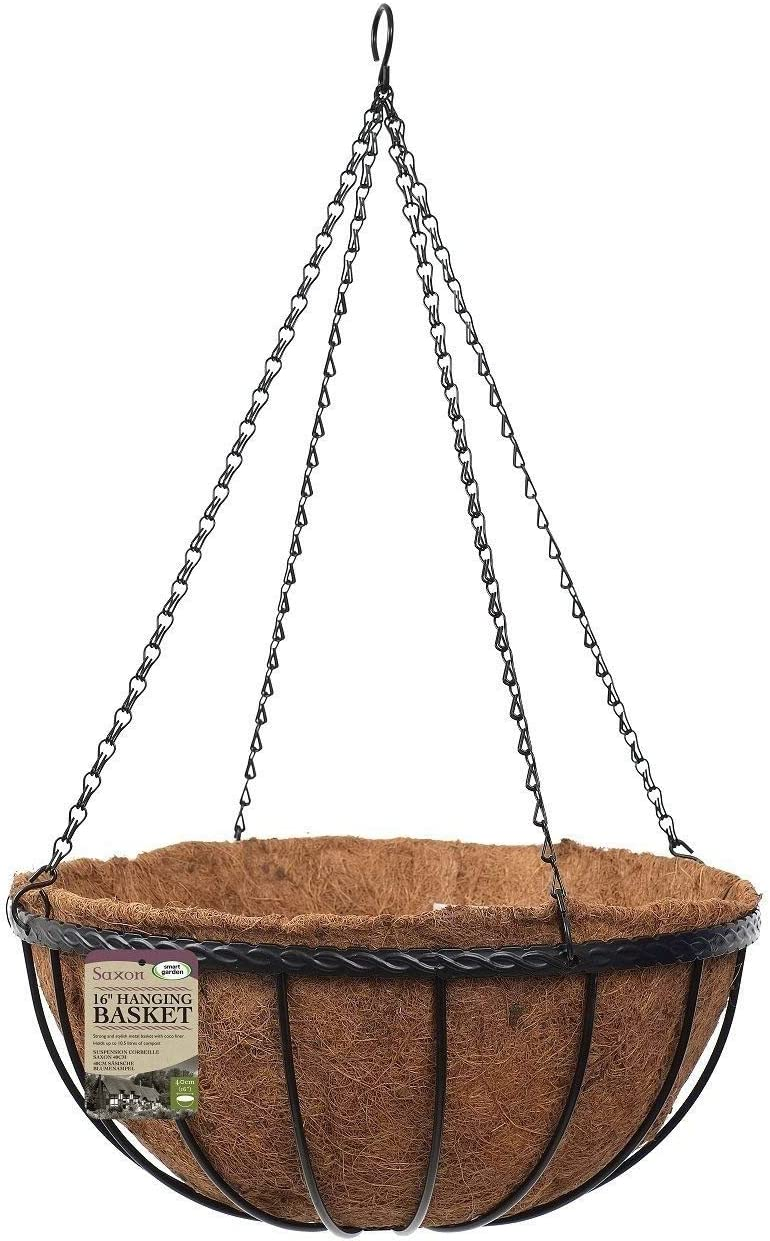 5 x Gardman 30cm 12 Inch Georgian Metal Hanging Basket Black Planter Coco Liner