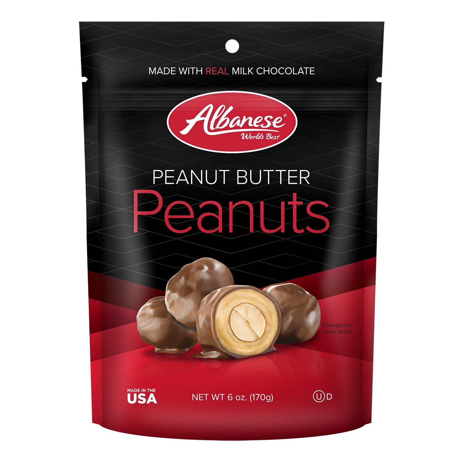 Albanese Milk Chocolate Peanut Butter Peanuts, 6.0 oz. Gusseted Peg bag (6 count) by Albanese